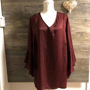 NWOT ALYX 2X MAROON DRESS WITH SLEEVES